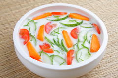 Cucumber caroot tomato nd mint raita Stock Photography