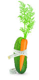 Cucumber and carrot with meter Stock Photography