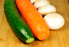 Cucumber carrot and mushroom Royalty Free Stock Images