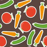 Cucumber, carrot, tomato pattern. seamless texture Stock Photography