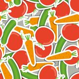 Cucumber, carrot, tomato pattern. seamless texture Royalty Free Stock Photos