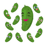 Cucumber cartoon with many expressions Royalty Free Stock Image