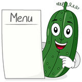 Cucumber Character with Blank Menu stock photography