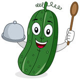 Cucumber Character with Tray and Spoon stock photos
