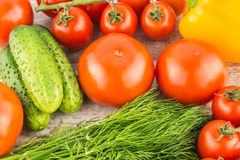 Cucumber, Cherry tomatoes, yellow bell pepper and dill. Vegetarian healthy food Royalty Free Stock Photo