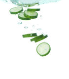 Cucumber in clear water Royalty Free Stock Photography