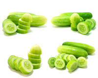 Cucumber collage isolated Royalty Free Stock Photography