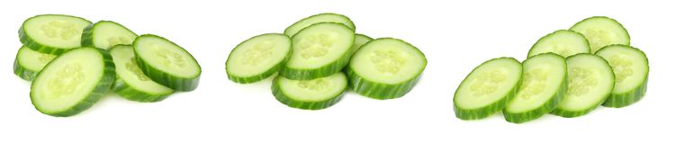 fresh cucumber slices isolated on white background royalty free stock photos