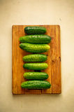 Cucumber composition. Seven cucumbers lying on a wooden cutting plate Stock Photos