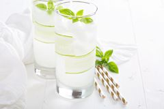 Cucumber cooler in tall glasses Stock Photography
