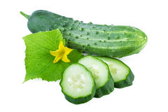 Cucumber cut slices isolated on white Stock Photography