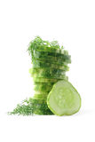 Cucumber and dill isolated on white. Slices of cucumber and dill isolated on white background Stock Photo