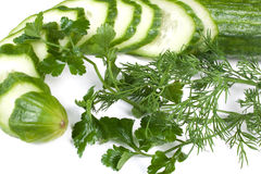 Cucumber, dill and parsley Royalty Free Stock Images