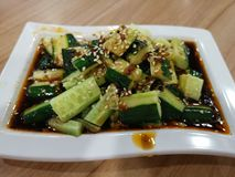 Cucumber. A dish of cucumber with spicy sour sauce royalty free stock photography