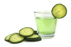 Cucumber drink. With fresh cucumber stock image
