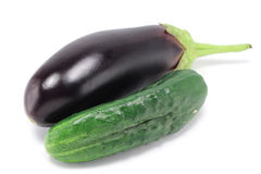 Cucumber and eggplant Royalty Free Stock Photos