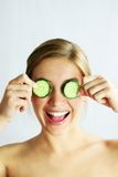 Cucumber face mask Royalty Free Stock Images