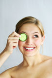 Cucumber face mask Stock Image