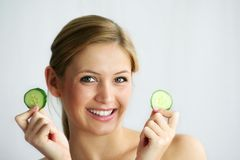 Cucumber face mask Royalty Free Stock Image