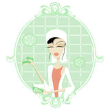 Cucumber Facial. Illustration of a woman with cucumber cream for a facial stock illustration