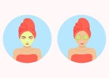 Cucumber facial mask stock illustration