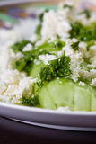 Cucumber and feta cheese salad. Close up of a cucumber and feta cheese salad topped with green onion and parsley dressed with olive oil and lemon juice Royalty Free Stock Images
