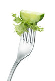 Cucumber on fork Royalty Free Stock Photos