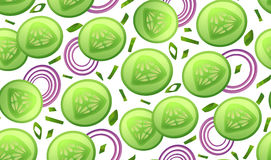 Cucumber fresh slices piece salad, onion circles slice chives se. Amless pattern . Vector beautiful fabric horizontal closeup top view textile wallpaper Royalty Free Stock Photo