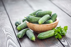 Cucumber. Fresh cucumber in wood table stock image