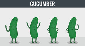 Cucumber. Funny cartoon vegetables. Organic food. Vector Royalty Free Stock Images