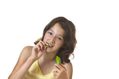 Cucumber Girl Royalty Free Stock Photography