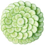 Cucumber green. Green, fresh cucumber cut around and combined by a pyramid Royalty Free Stock Photography