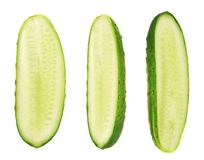 Cucumber halves isolated Royalty Free Stock Photos