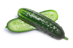 Cucumber halves, top view, paths Stock Images