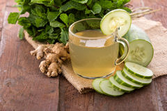 Cucumber and herbs juice Royalty Free Stock Photos