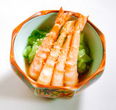 Cucumber Japanese salad with shrimps on top  Royalty Free Stock Photography