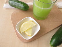 Cucumber juice with lemon Stock Photo