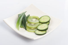 Cucumber, kiwi and aloe Royalty Free Stock Photo