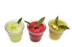 Cucumber, kiwi and raspberry smoothies Stock Image