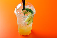Cucumber lemonade. Homemade cucumber lemonade with lime and sparkling water Royalty Free Stock Images