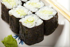 Cucumber maki sushi closeup Royalty Free Stock Image