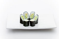 Cucumber maky. Japanese restaurant food image, isolated on white, ideal for Menu royalty free stock photo