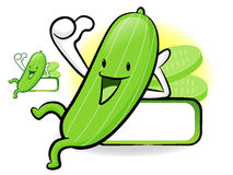 Cucumber Mascot the Left hand best gesture. Vegetable Character Royalty Free Stock Image