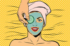Cucumber mask on woman face, skin beauty Stock Photography