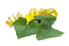 Cucumber with a measuring tape Royalty Free Stock Image