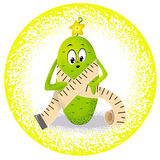 Cucumber with measuring tape. Icon cucumber with measuring tape Stock Image