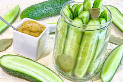 Cucumber in mustard sauce Stock Images