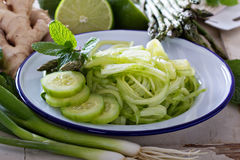 Cucumber noodles and green vegetables Royalty Free Stock Photography