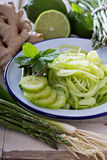 Cucumber noodles and green vegetables Royalty Free Stock Images