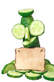 Cucumber and note Royalty Free Stock Images
